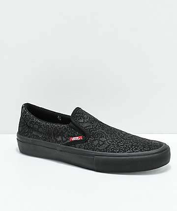 Vans x Sketchy Tank Slip-On Pro Reflective Black Skate Shoes