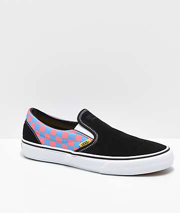 Vans x T&C Surf Designs Slip-On Black, Pink & Blue Checkerboard Skate Shoes