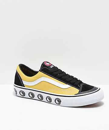 Vans x T&C Surf Designs Style 36 Black, Yellow & White Skate Shoes