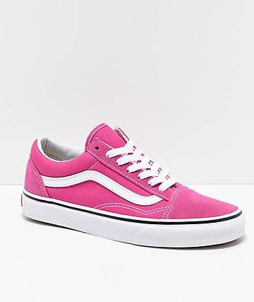 Vans zapatos de skate en rosa y blanco para niños