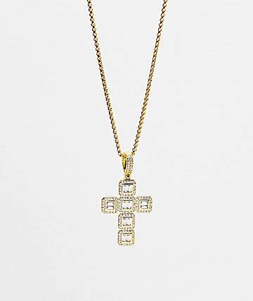 Veritas Baguette collar con colgante de oro de cruz