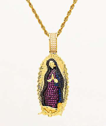 Veritas Iced Virgin Mary Gold Pendant Necklace