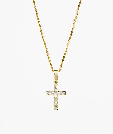 Veritas Invisible collar de oro con colgante de cruz