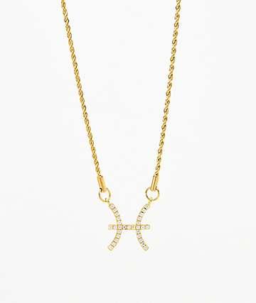 Vesso collar de oro de piscis leo para mujer