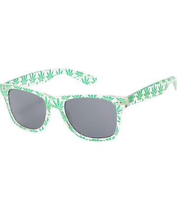Vice Clear & Green Weed Print Sunglasses