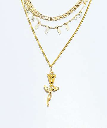 VidaKush Gold Rose Triple Chain Necklace