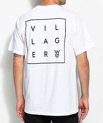 Villager Box Logo camiseta blanca con bolsillo