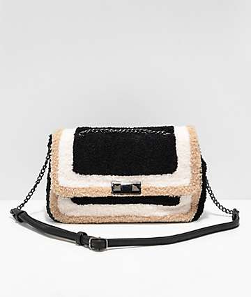 Violet Ray Black, Cream & Tan Crossbody Purse