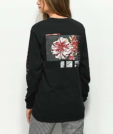 Vitriol Agony Defeat Flowers Black Long Sleeve T-Shirt