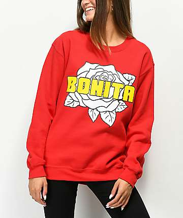 Viva La Bonita Flor Bonita Red Crew Neck Sweatshirt
