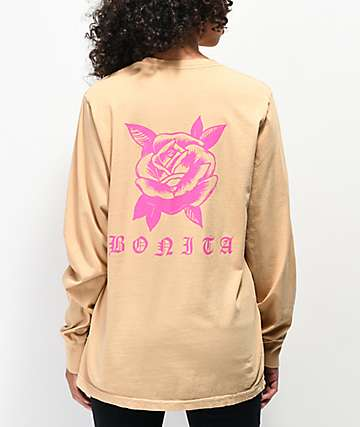 Viva La Bonita Rose Tan & Neon Pink Long Sleeve T-Shirt