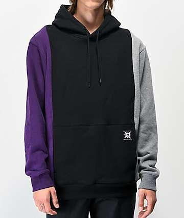 Volcom A.P. 2 Black, Grey & Purple Colorblock Hoodie