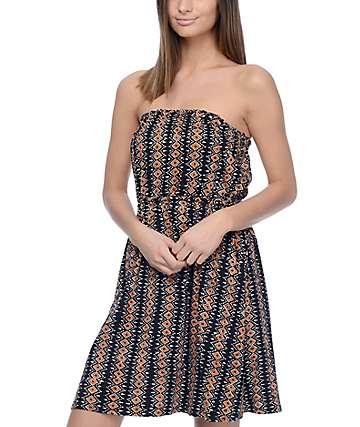 Volcom Avalaunch It Bronze Strapless Dress