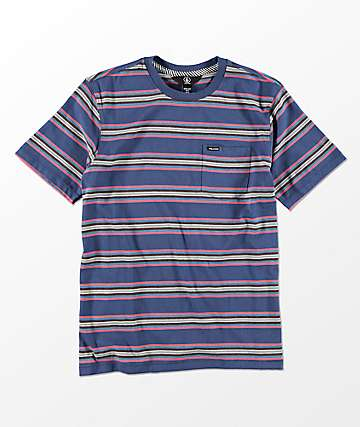 Volcom Boys Belfast Crew Blue Pocket T-Shirt