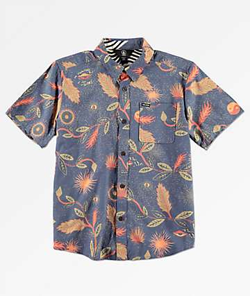 Volcom Boys Broha Deep Blue Woven Shirt