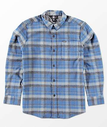 Volcom Boys Caden Blue Woven Flannel Shirt