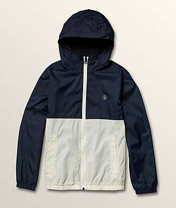 Volcom Boys Ermont Blue & White Windbreaker Jacket