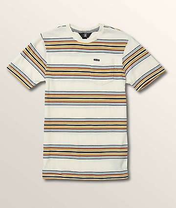 Volcom Boys Idle Crew Striped White Knit T-Shirt