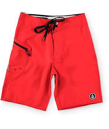 "Volcom Boys Lido Solid Red 18""  Board Shorts"