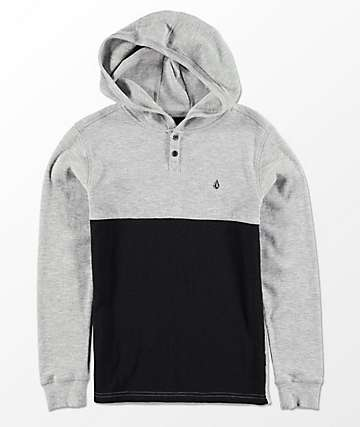 Volcom Boys Murphy Thermal Grey & Black Hooded T-Shirt