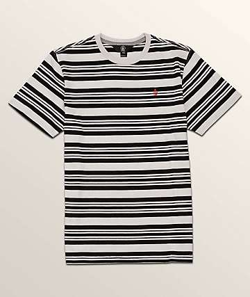 Volcom Boys Randall Black & White Stripe Knit T-Shirt