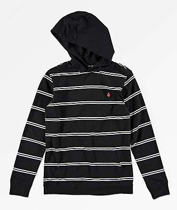 Volcom Boys Randall Black  Hooded Long Sleeve T-Shirt