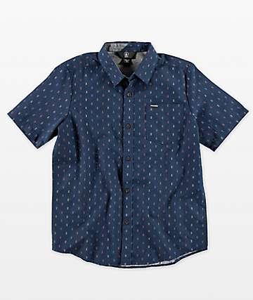 Volcom Boys Rollins Blue Short Sleeve Button Up Shirt
