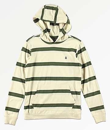 Volcom Boys Shaneo Green & Cream Stripe Hoodie