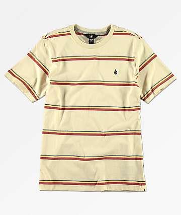 Volcom Boys Sheldon Cream Striped T-Shirt
