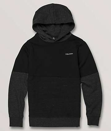 Volcom Boys Single Stone Division 2 Tone Black Hoodie