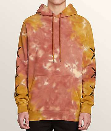Volcom Boys Wasted Orange Tie Dye Hoodie