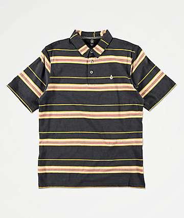 Volcom Boys Wowzer Grey Stripe Polo Shirt
