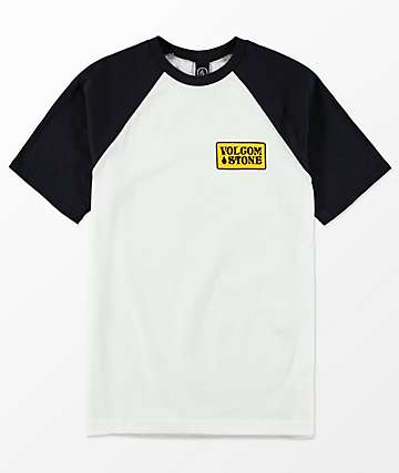 Volcom Boys Wrecker White & Navy Raglan T-Shirt