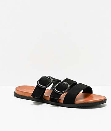 Volcom Buckle Up Buttercup Black & Tan Sandals