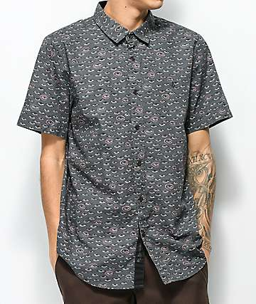 Volcom Burch Charcoal Print Short Sleeve Button Up Shirt