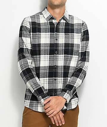 Volcom Caden White & Black Flannel Shirt