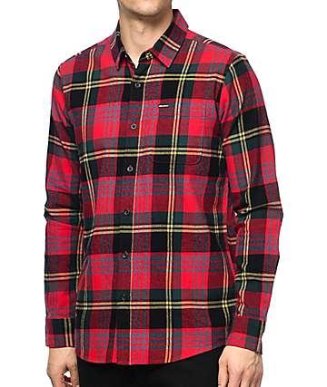Volcom Caden camisa de franela en rojo y negro