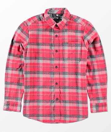 Volcom Caden camisa tejida de franela en rojo para niños