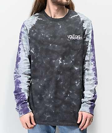 Volcom Computer Crash Black & Purple Tie Dye Long Sleeve T-Shirt