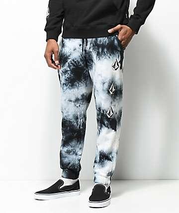 Volcom Deadly Stones pantalones negros deportivos con efecto tie dye