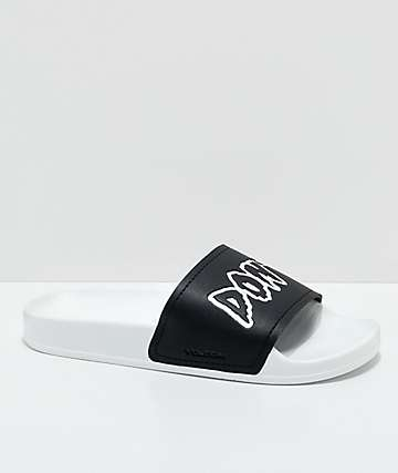 Volcom Don't Trip White & Black Slide Sandals