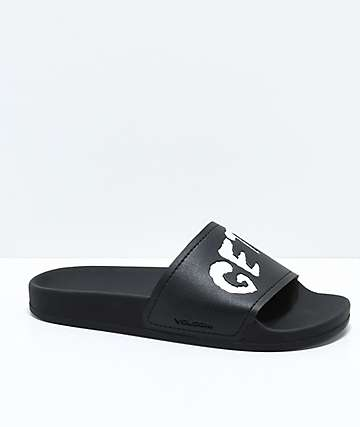 Volcom Dont Trip Get Stoned Black Slide Sandals