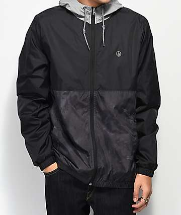 Volcom Ermont chaqueta cortavientos negra y gris