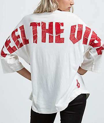 Volcom Feel The Vibes Oversized White Long Sleeve T-Shirt