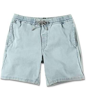 Volcom Flare Light Blue Elastic Waist Shorts
