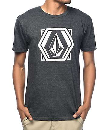 Volcom Geosketchtic Heather Charcoal T-Shirt