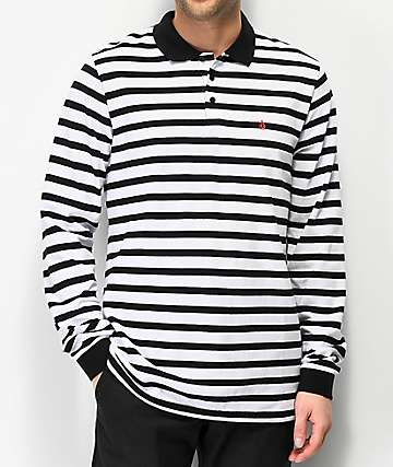 Volcom Gon James White & Black Striped Long Sleeve Polo Shirt