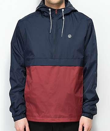 Volcom Halfmont Navy & Burgundy Anorak Jacket