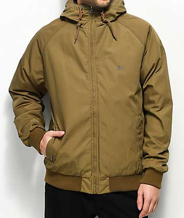 Volcom Hernan Insulated Dark Khaki Bomber Jacket