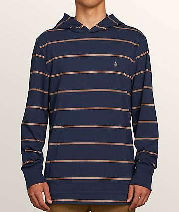 Volcom Joben Navy & Brown Hooded Knit Shirt